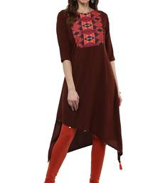 Buy Brown printed crepe kurtas-and-kurtis kurtas-and-kurti online