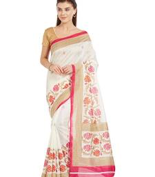Buy Pink printed bhagalpuri cotton saree with blouse bhagalpuri-silk-saree online