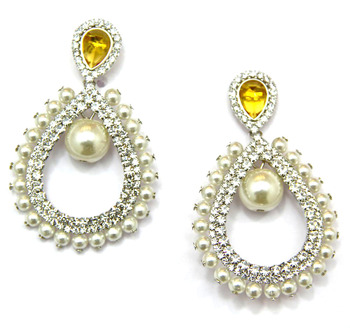 Pearl Earrings with Yellow Crystal