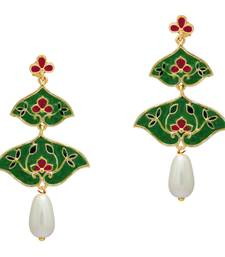 Buy Green Color Imitation Pearl Meenakari Earrings danglers-drop online