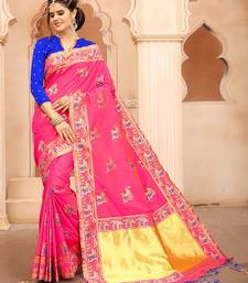 Buy Pink woven silk saree with blouse Woman online