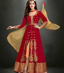 Buy Red embroidered georgette salwar semi-stitched-salwar-suit online
