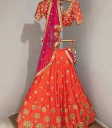 Buy Orange embroidered art silk unstitched lehenga lehenga-choli online