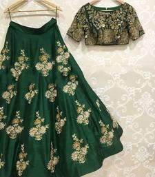Buy Green embroidered art silk unstitched lehenga lehenga-choli online