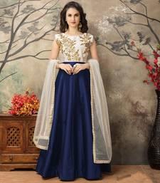 Buy Navy blue embroidered taffeta salwar festive-salwar-suit online