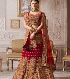 Buy Maroon embroidered velvet unstitched lehenga bridal-lehenga online