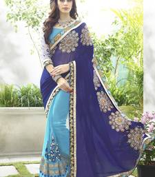 Buy Navy blue embroidered georgette saree with blouse party-wear-saree online