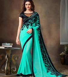 Buy Light blue embroidered georgette saree with blouse party-wear-saree online