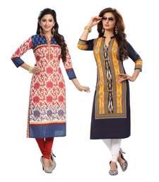 Buy Multicolor printed cotton unstitched kurtas-and-kurtis combo-kurtis online