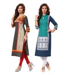 Buy Multicolor printed cotton unstitched kurtas-and-kurtis combo-kurti online
