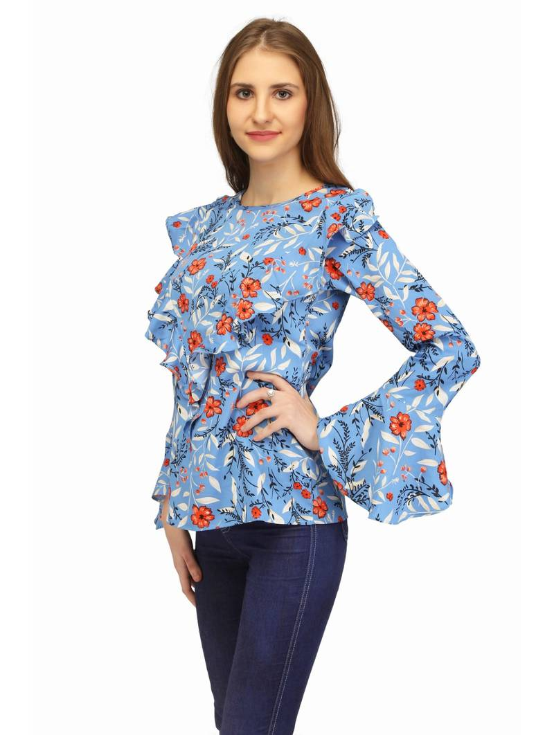 Buy Blue Floral Print Casual Tops Online