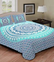 Buy Multi Colour Printed Jaipuri Cotton Double Bed Sheet With Pillow Cover  Bed Sheet Online