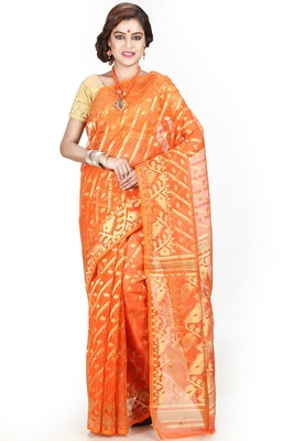 Orange hand woven silk cotton saree
