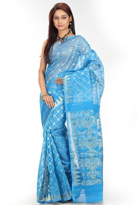 Dark turquoise hand woven silk cotton saree