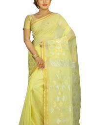 Buy Yellow hand woven silk cotton saree with blouse jamdani-saree online