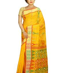 Buy Yellow hand woven cotton saree  handloom-saree online