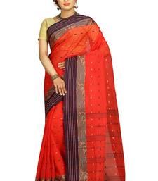 Buy Rust hand woven cotton saree  handloom-saree online