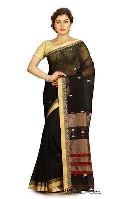 Black hand woven silk cotton saree with blouse