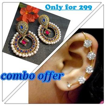 Buy 1 Get 1Pink&Blue Pearl Polki with kaan earring