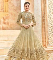 Buy Beige embroidered net salwar with dupatta wedding-season-sale online