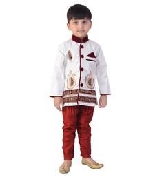 Buy white denim salwar embroidered kids  sherwani boys-sherwani online