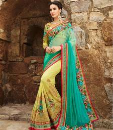 Buy Green embroidered georgette saree  designer-embroidered-saree online