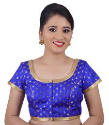 Buy Areum Blue Brocade Jari Butti Polka Dot Padded Readymade Saree Blouse Choli readymade-blouse online