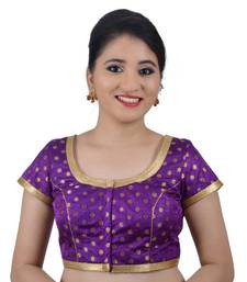 Buy Areum Purple Brocade Jari Butti Polka Dot Padded Readymade Saree Blouse Choli readymade-blouse online