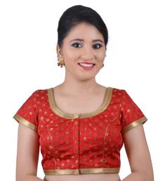 Buy Areum Red Brocade Jari Butti Polka Dot Padded Readymade Saree Blouse Choli readymade-blouse online