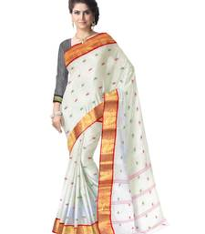 Buy GiftPiper Bengali Tant Saree with Booti Motifs - White & Red bengali-saree online