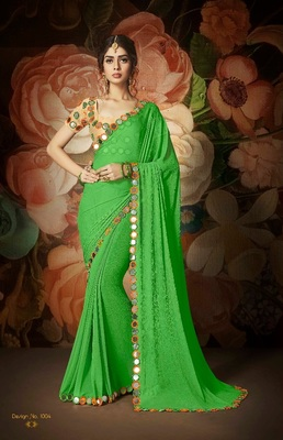 Parrot green embroidered nazneen saree with blouse
