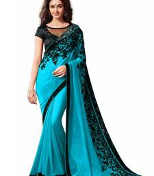 Buy Aqua blue printed dupion saree with blouse printed-saree online