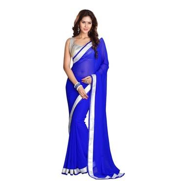 Blue printed matka silk saree with blouse