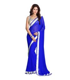 Buy Blue printed matka silk saree with blouse printed-saree online