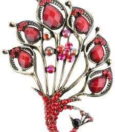 Buy Peacock Maroon Red Metal Alloy Saree Dress Brooch Brooch for Women brooch online