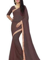 Buy Brown plain pure nazneen saree with blouse fancy-saree online