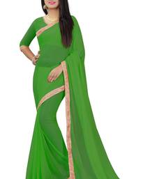 Buy Green plain pure nazneen saree with blouse fancy-saree online