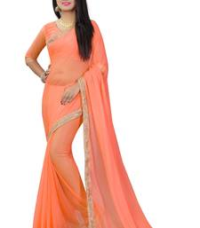 Buy Orange plain pure nazneen saree with blouse fancy-saree online
