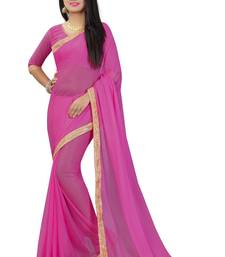 Buy Pink plain pure nazneen saree with blouse fancy-saree online
