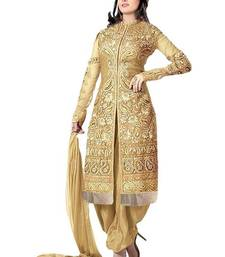 Buy Gold embroidered georgette salwar with dupatta semi-stitched-salwar-suit online