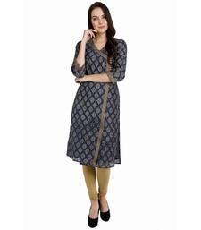 Buy blue printed chanderi stitched kurti kurtas-and-kurtis online