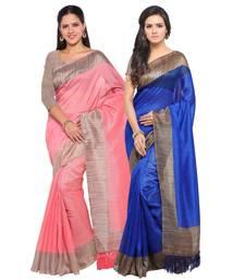 Buy Multicolor printed tussar silk saree with blouse sarees-combo-sari online