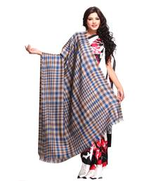 Buy Blue and Silver Gerry Plaid Soft Pashmina shawl shawl online