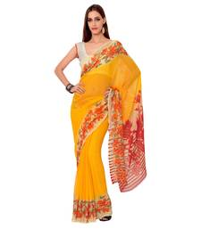 Buy Yellow Printed Poly Georgette saree with blouse party-wear-saree online