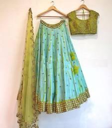 Buy Dark turquoise embroidered cotton silk semi stitched lehenga lehenga-choli online