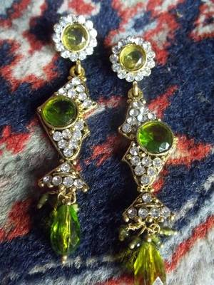 long lemon stone and diamond danglers