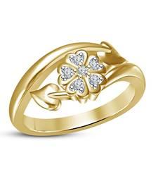 Buy 925 Sterling Silver 14k Gold Plated Flower /Leaf Design Womens Engagement Ring online