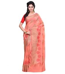 Buy Peach woven blended cotton saree with blouse hand-woven-saree online