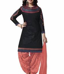 Buy Black embroidered cotton salwar with dupatta ethnic-suit online