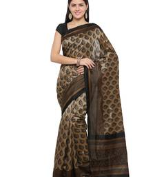 Buy Beige printed cotton silk saree with blouse printed-saree online